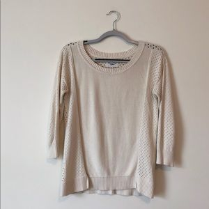 American Eagle | cream sweater open knit back | A4